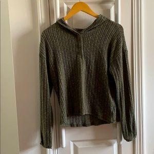 AEO earthy green hoodie sweater
